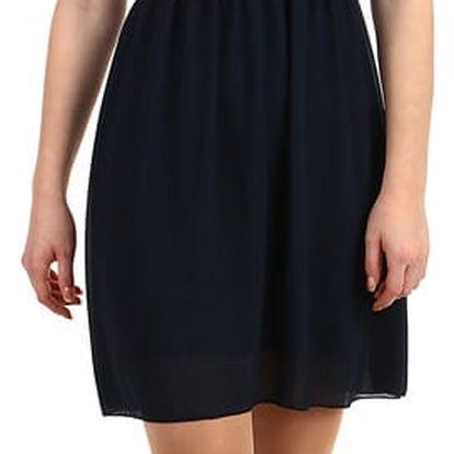 Šifonové šaty s krajkovým vrškem tmavě modrá