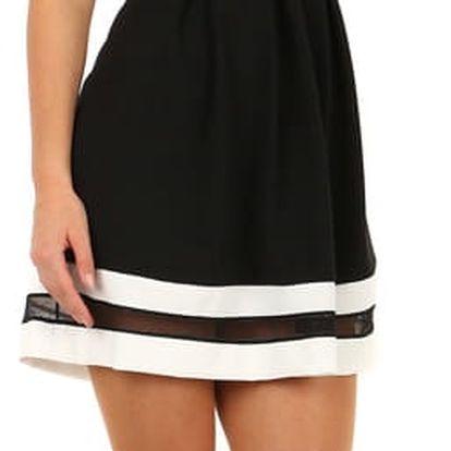 Áčkové večerní šaty na dvojitá ramínka černá