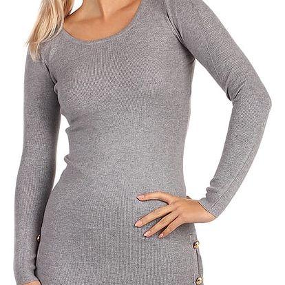 Úpletové šaty/svetr s ozdobnými patenty šedá