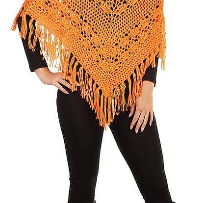 Pletené dámské pončo se vzorem oranžová