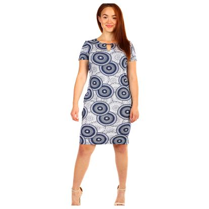 Vzorované šaty s krátkým rukávem - i pro plnoštíhlé bílá/růžová