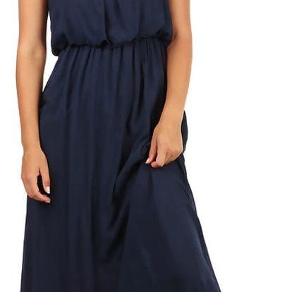 Letní jednobarevné maxi šaty tmavě modrá