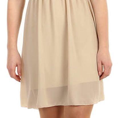 Šifonové šaty s krajkovým vrškem béžová