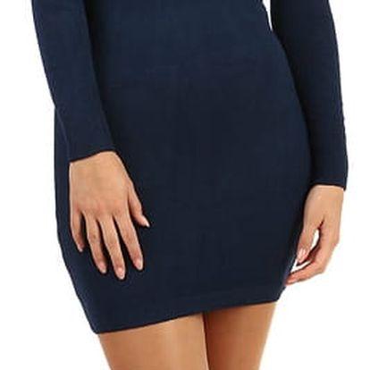Dlouhý svetr/šaty s odhalenými rameny tmavě modrá