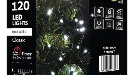 Vánoční osvětlení EMOS 120 LED, 12m, řetěz, studená bílá, časovač, i venkovní použití (1534080035) + Doprava zdarma