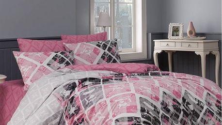 BedTex Bavlněné povlečení Riviéra růžová, 140 x 200 cm, 70 x 90 cm