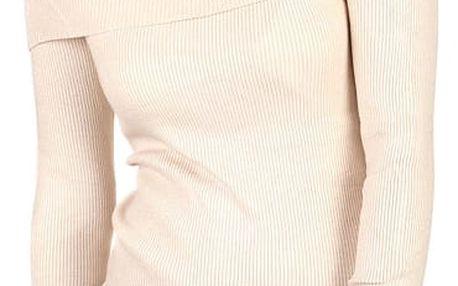 Žebrovaný svetr s výšivkou krémová