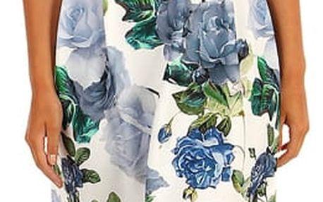 Šaty áčkového střihu s potiskem růží II.jakost modrá