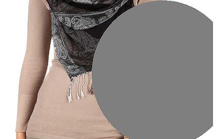 Dlouhá šála - pašmína tmavě šedá