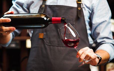 Láhev prvotřídního vína a talířek dobrot