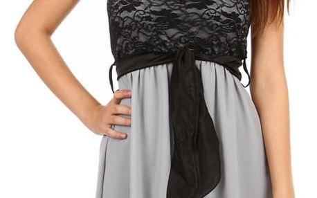 Asymetrické šaty s krajkou šedá
