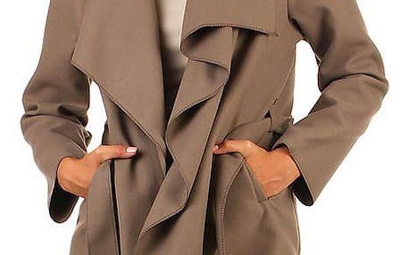 Zavinovací dámský kabát s páskem hnědá
