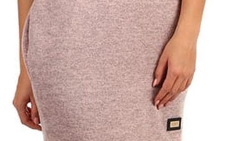 Melírované úpletové šaty s 3/4 rukávem růžová