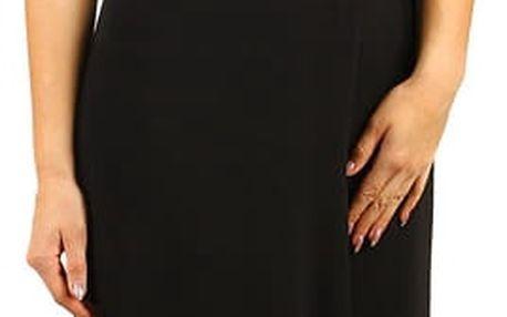 Dlouhé šifonové šaty s krajkou černá