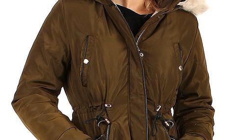 Lesklá dámská bunda - i pro plnoštíhlé khaki