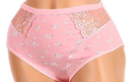 Vysoké kalhotky s potiskem a krajkou - i pro plnoštíhlé růžová
