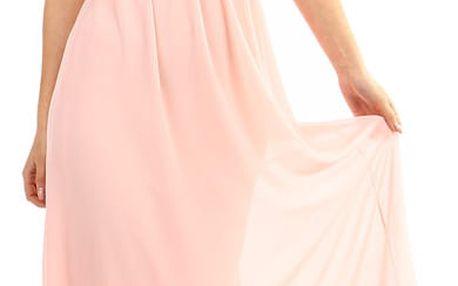 Dlouhé šaty s kamínkovou aplikací v pase růžová