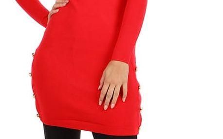 Úpletové šaty/svetr s ozdobnými patenty červená