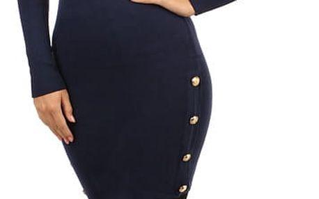 Úpletové šaty/svetr s ozdobnými patenty modrá