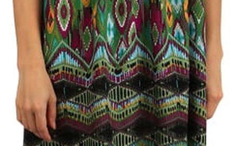 Orientální šaty z bavlny na úzká ramínka zelená