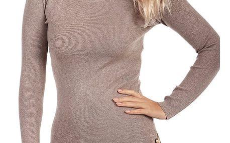 Úpletové šaty/svetr s ozdobnými patenty hnědá