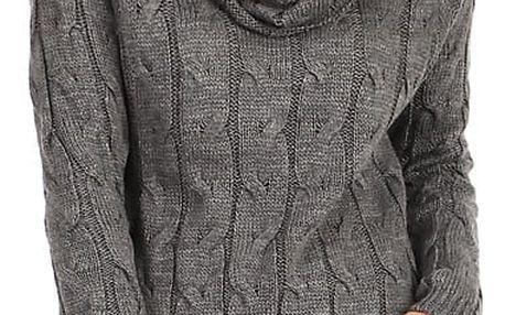 Pletené dámské šaty s dlouhým rukávem šedá