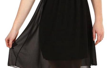 Šifonové šaty s krajkovým vrškem černá