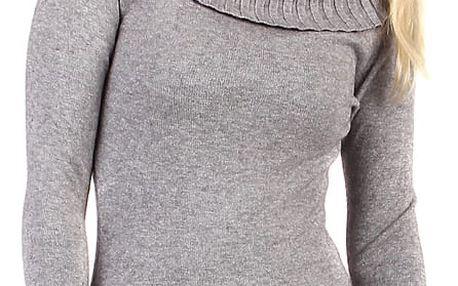 Dlouhý svetr s rolákem šedá
