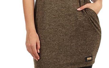 Melírované úpletové šaty s 3/4 rukávem khaki