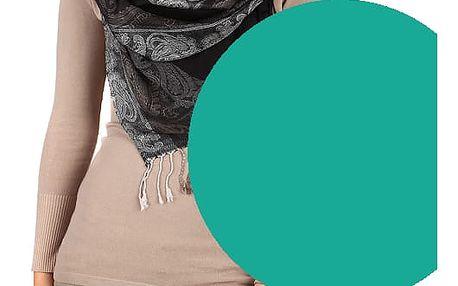 Dlouhá šála - pašmína zelenomodrá