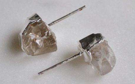 DECADORN Náušnice Mini Clear Quartz/Silver, stříbrná barva, čirá barva, kov, kámen