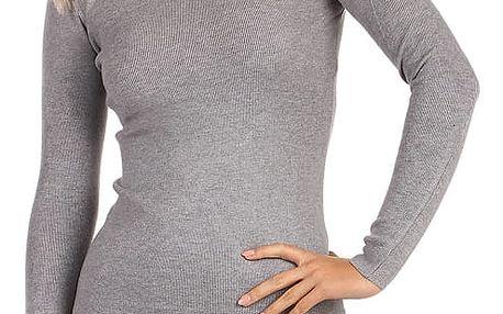 Dámské úpletové šaty s ozdobnými patenty šedá