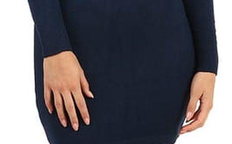 Dámské pletené šaty s odhalenými rameny tmavě modrá