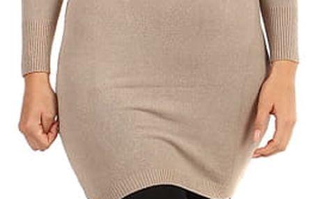 Dámské pletené šaty s odhalenými rameny béžová