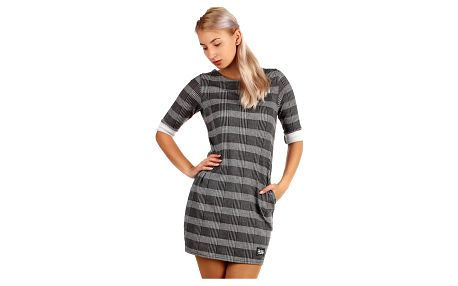 Kostkované úpletové šaty s 3/4 rukávem