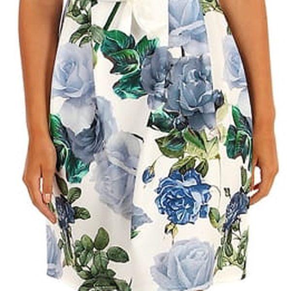 Šaty áčkového střihu s potiskem růží růžová2