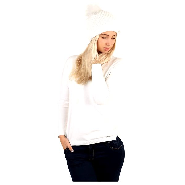 Dámská pletená čepice bílá2
