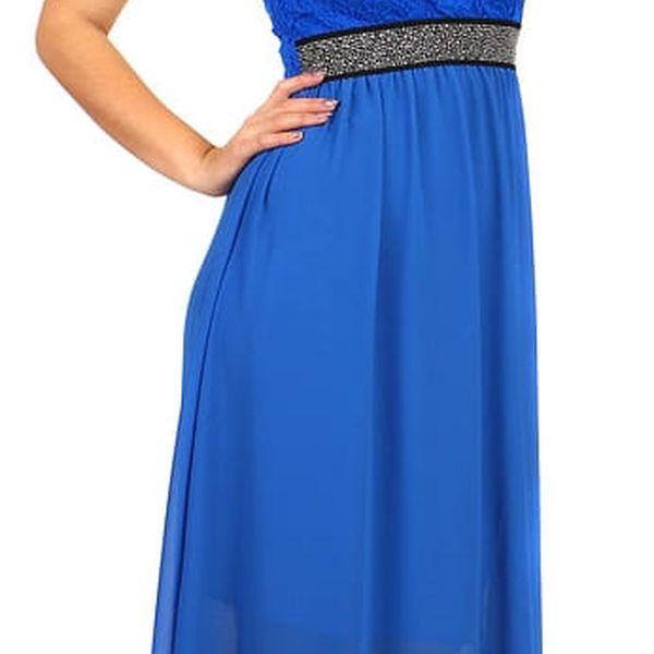 Dlouhé šaty s kamínkovou aplikací v pase modrá2