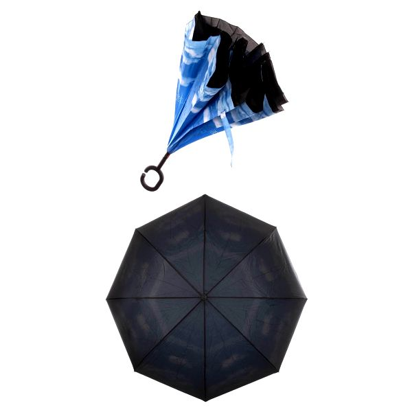 Obrácený holový deštník s dvojitým potahem mraky
