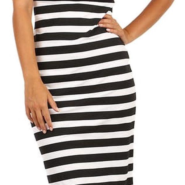 Bavlněné proužkované šaty pro volný čas černá