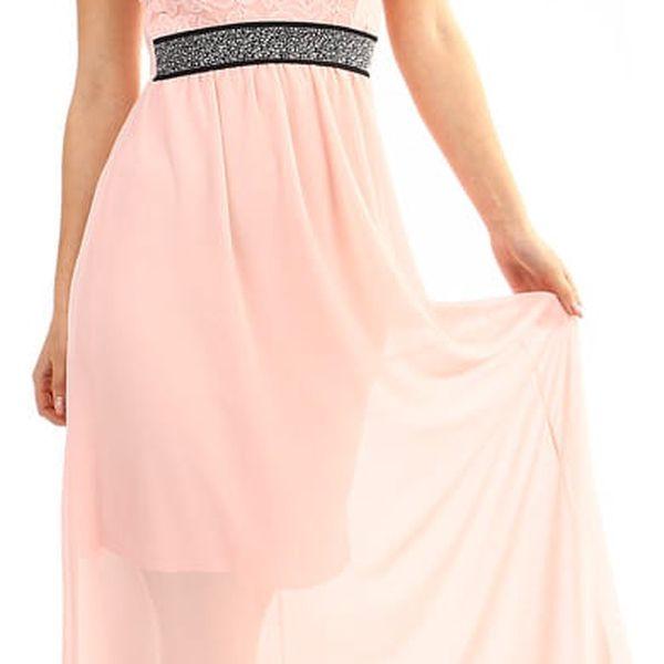 Dlouhé šaty s kamínkovou aplikací v pase modrá