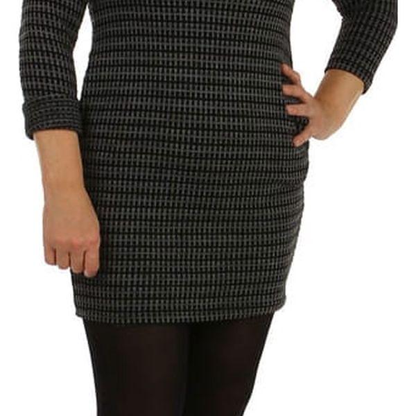 Úpletové dámské vzorované šaty černá2