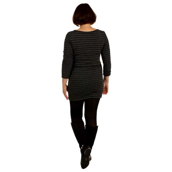 Úpletové dámské vzorované šaty černá3
