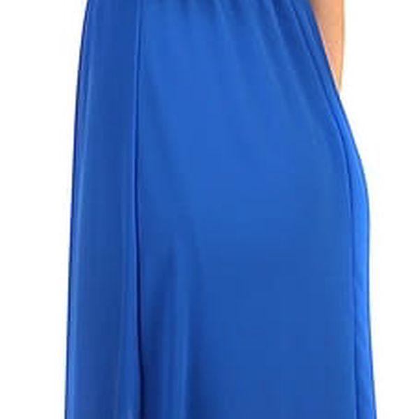 Dlouhé šaty s kamínkovou aplikací v pase modrá4