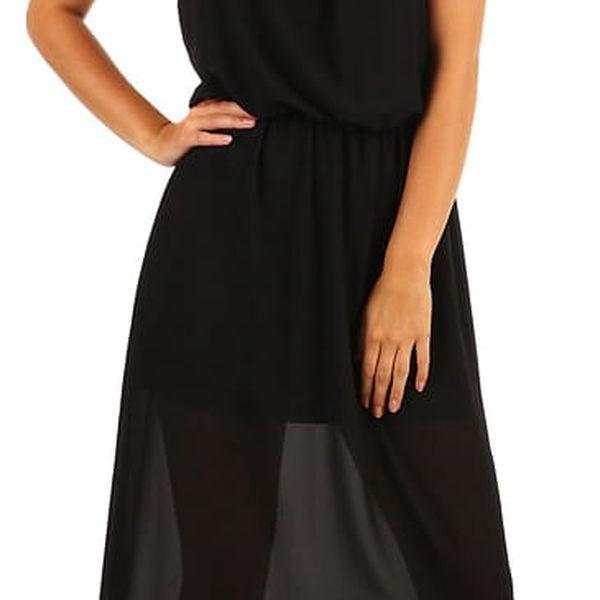 Dlouhé šifonové maxi šaty černá