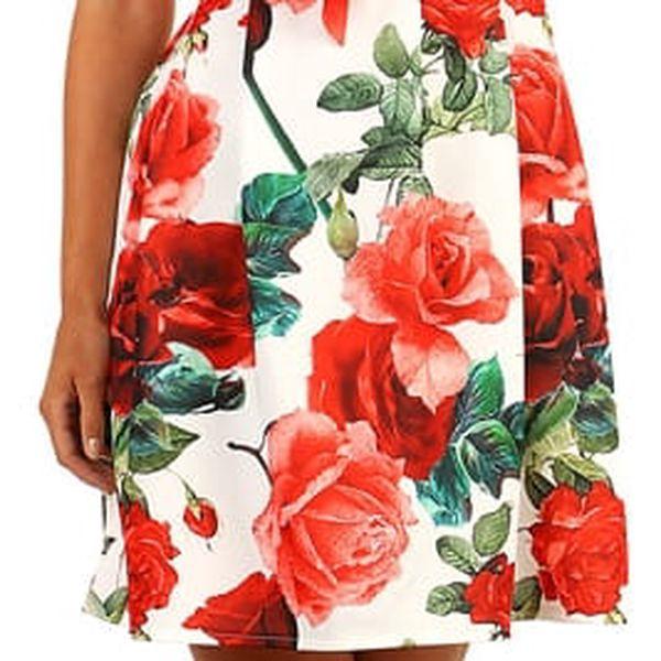 Šaty áčkového střihu s potiskem růží růžová3