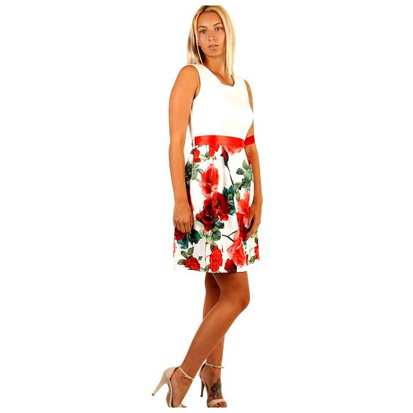 Šaty áčkového střihu s potiskem růží růžová5