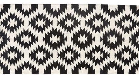 Hübsch Tkaný kobereček Nature/black 60x120, béžová barva, černá barva, textil