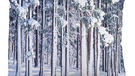 Bloomingville Polštář Winter Forrest, šedá barva, bílá barva, textil