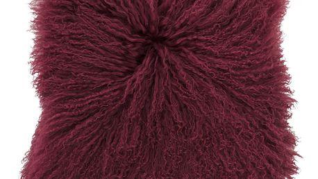 Bloomingville Kožešinový polštář Red Mongolian, červená barva, textil, kožešina